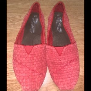 Red Suede Toms Size 9